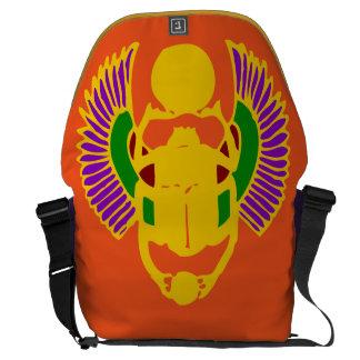 scarab beetle Egyptian yoga bag-gold orange purple Messenger Bag
