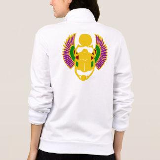scarab beetle Egyptian yoga fleece jacket - white