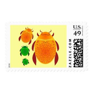 Scarab Beetle Postage Stamp