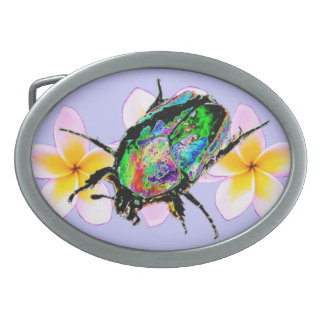 Scarab Beetle & Pulmeria Belt Buckle
