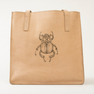 Scarab Etching Leather Tote