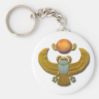 Scarab-gold Basic Round Button Keychain