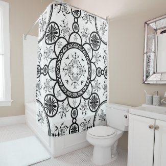 Scarab tile line pattern shower curtain