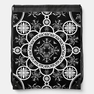 Scarab tile line pattern with black Background