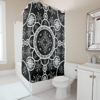 Scarab tile line pattern with black Background Shower Curtain