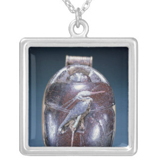 Scarab with Heron, from Tomb of Tutankhamun Silver Plated Necklace