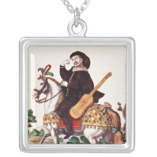 Scaramouche on Horseback Silver Plated Necklace