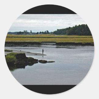 Scarborough Marsh (saltwater) Maine Round Stickers