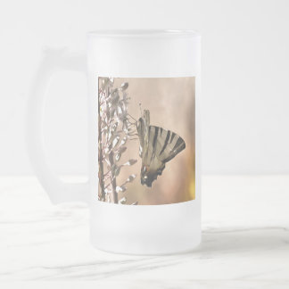 Scarce Swallowtail Feeding Frosted Glass Beer Mug