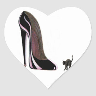 Scardey Cat and Black Stiletto Shoe Heart Sticker