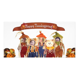 Scare Crow Family Thanksgiving Custom Photo Card