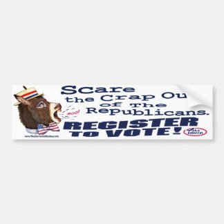 Scare Republicans, Register To Vote Bumper Sticker