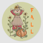 Scarecrow 1 Pumpkin Fall Sunflowers Stickers