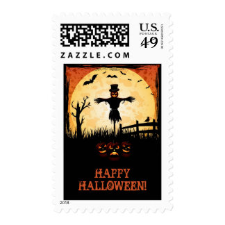 Scarecrow and Moon Light Halloween Stamps