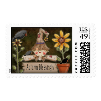 Scarecrow Autumn Blessings Stamp