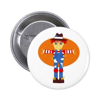 scarecrow cartoon orange behind pinback button