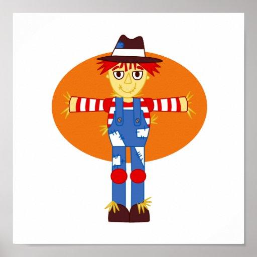 scarecrow cartoon orange behind posters