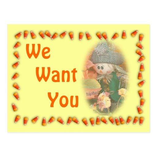Scarecrow & Corn Invitation-customize Postcard