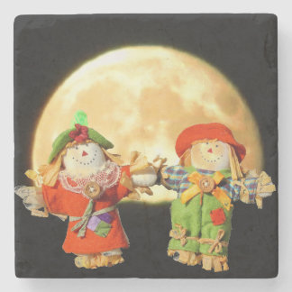 Scarecrow Couple and a Full Moon Stone Coaster