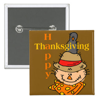 Scarecrow & Crow Thanksgiving 2 Inch Square Button