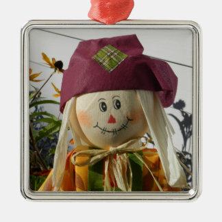 Scarecrow Girl Premium Square Ornament