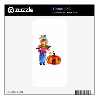 Scarecrow Guarding Pumpkin iPhone 4 Skins