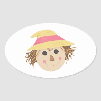 Scarecrow Head Oval Stickers