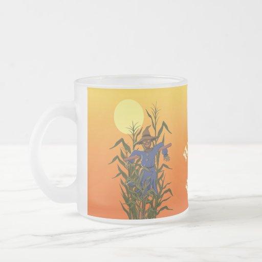 Scarecrow in a corn field coffee mug