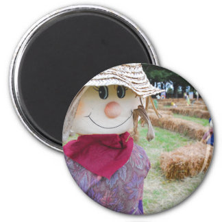 Scarecrow in a Pumpkin Patch 2 Inch Round Magnet