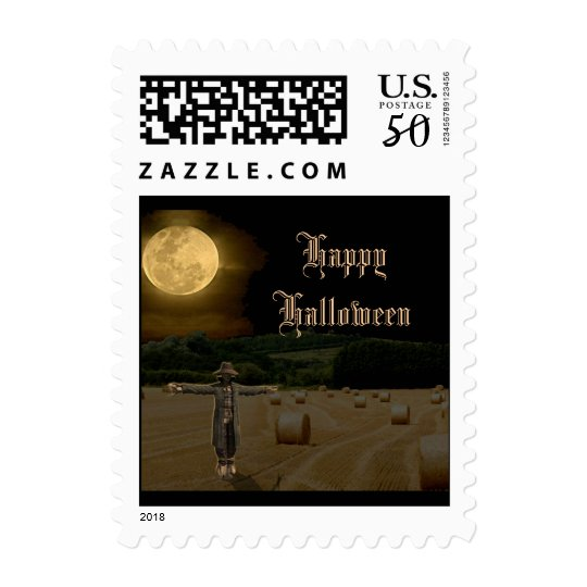 Scarecrow in the Hay Field under Full Moon Postage