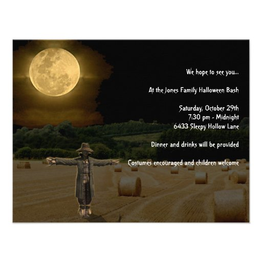 Scarecrow in the Hay Field with Full Moon Personalized Invitations
