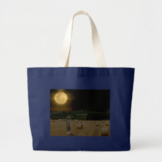 Scarecrow in the Hay Field with Full Moon Large Tote Bag