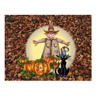 SCARECROW, JACK & CAT by SHARON SHARPE Postcard