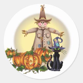 SCARECROW, JACK & CAT by SHARON SHARPE Classic Round Sticker