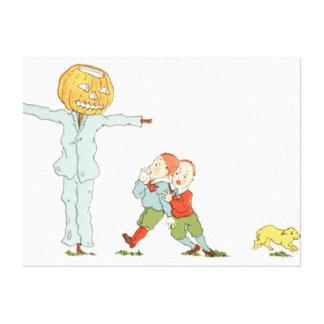 Scarecrow Jack O' Lantern Pumpkin Children Dog Canvas Print