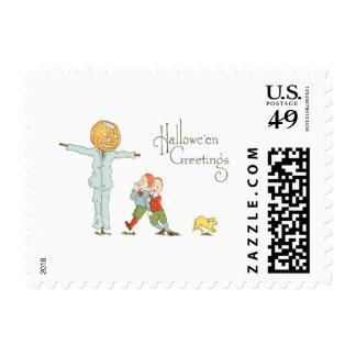 Scarecrow Jack O' Lantern Pumpkin Children Dog Stamps