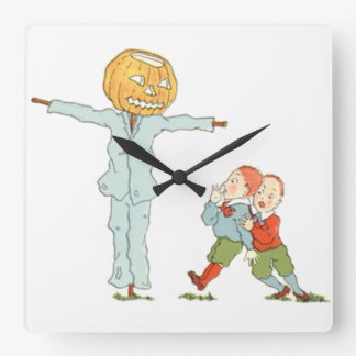 Scarecrow Jack O' Lantern Pumpkin Children Square Wall Clock