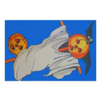 Scarecrow Jack O' Lantern Pumpkin Ghost Photo Print