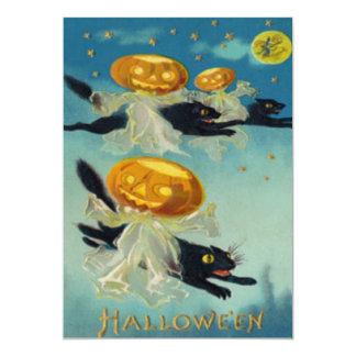 Scarecrow Jack O Lantern Pumpkin Stars Full Moon Card