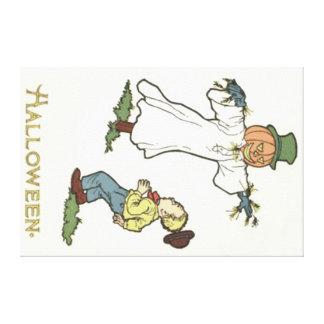 Scarecrow Jack O' Lantern Scared Boy Canvas Print