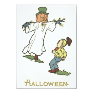 Scarecrow Jack O' Lantern Scared Boy Card