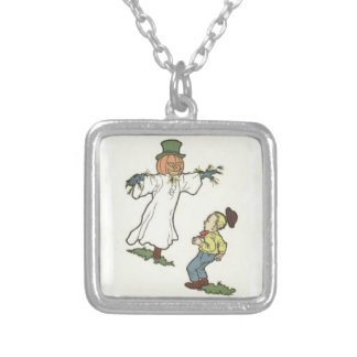 Scarecrow Jack O' Lantern Scared Boy Silver Plated Necklace