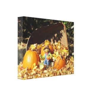 Scarecrow King on His Pumpkin Throne Canvas Print