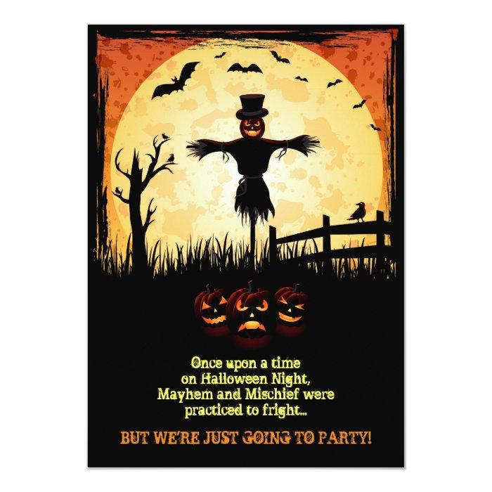 scarecrow moonlight halloween party invites zazzle. Black Bedroom Furniture Sets. Home Design Ideas
