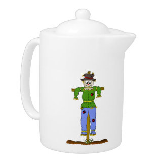 Scarecrow on a cross cartoon teapot