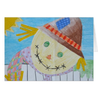 Scarecrow On A Fence Card