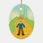 Scarecrow on Yellow Brick Road Christmas Ornament