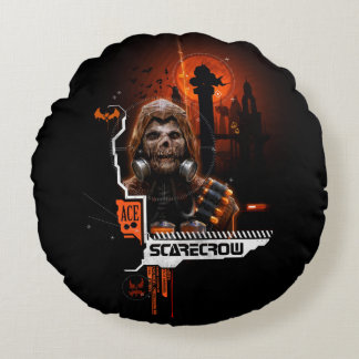 Scarecrow Orange Graphic Round Pillow
