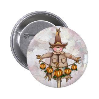 SCARECROW & PUMPKIN GARLAND by SHARON SHARPE 2 Inch Round Button