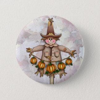SCARECROW & PUMPKIN GARLAND by SHARON SHARPE Pinback Button